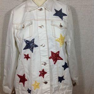 Denim stretch jacket with sequin stars